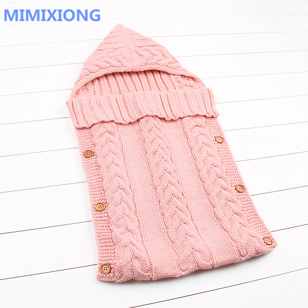 Sleeping Bag Baby Winter Warm Envelopes For Newborns Unisex Hooded Sleep Sack Acrylic Knitting Infant Wrap Swaddle Blankets Fall winter newborn sleeping bags autumn knitted baby stroller swaddle wrap blankets warm infant bebe sleep sack envelopes 0 12months