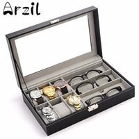 Display Case Composite Sundries Organizer Box PU Leather Watch Eyeglasses Storage Box Household Storage Helper Rangement