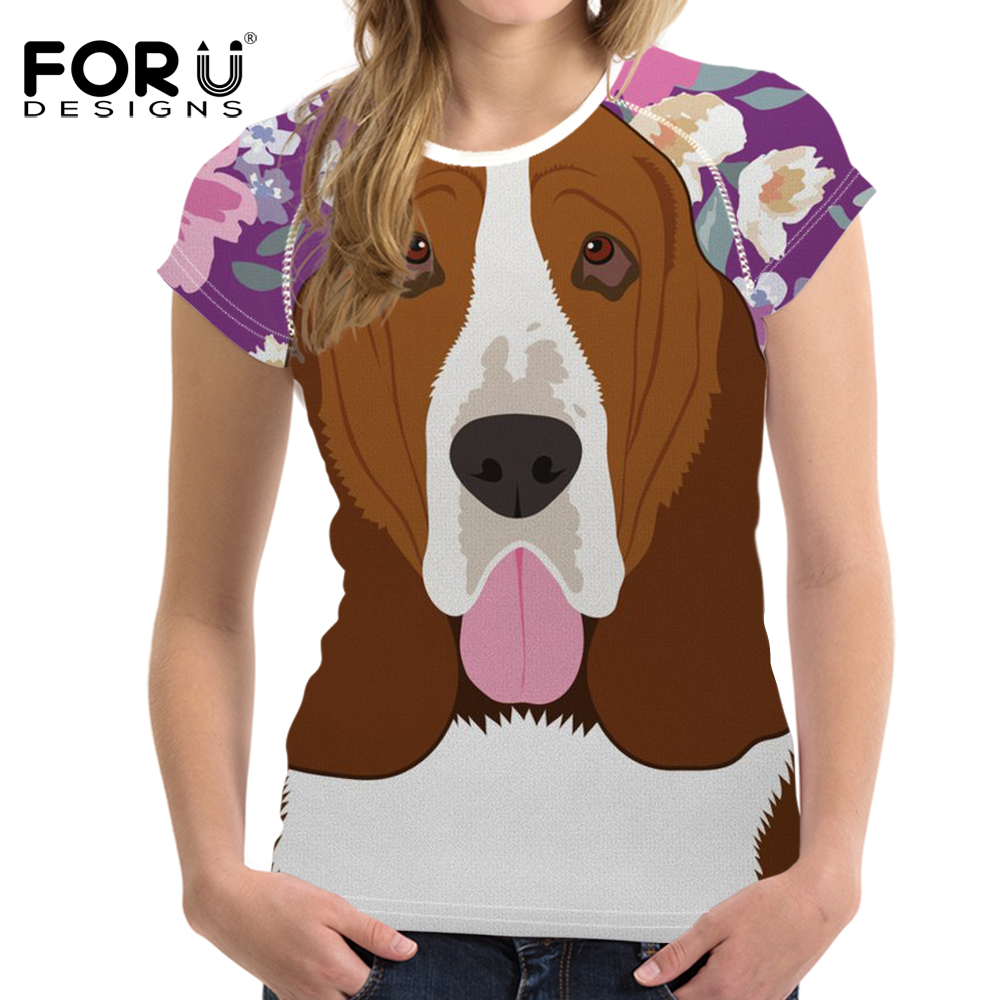 FORUDESIGNS Funny Basset Hound Dog Printing T Shirt Women Flower Pattern T-shirt Ladies Short Sleeve Tee Shirt Female Clothes
