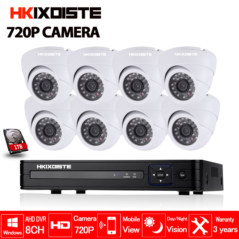 8CH CCTV System 720P CCTV Camera Home Security Video Surveillance Kit 1080P 1080N AHD DVR HD 1.0MP Dome IR-CUT  Indoor Camera keeper 700tvl 4ch home video cctv surveillance system kit for analog camera 2pcs outdoor indoor dome 20m ir security camera