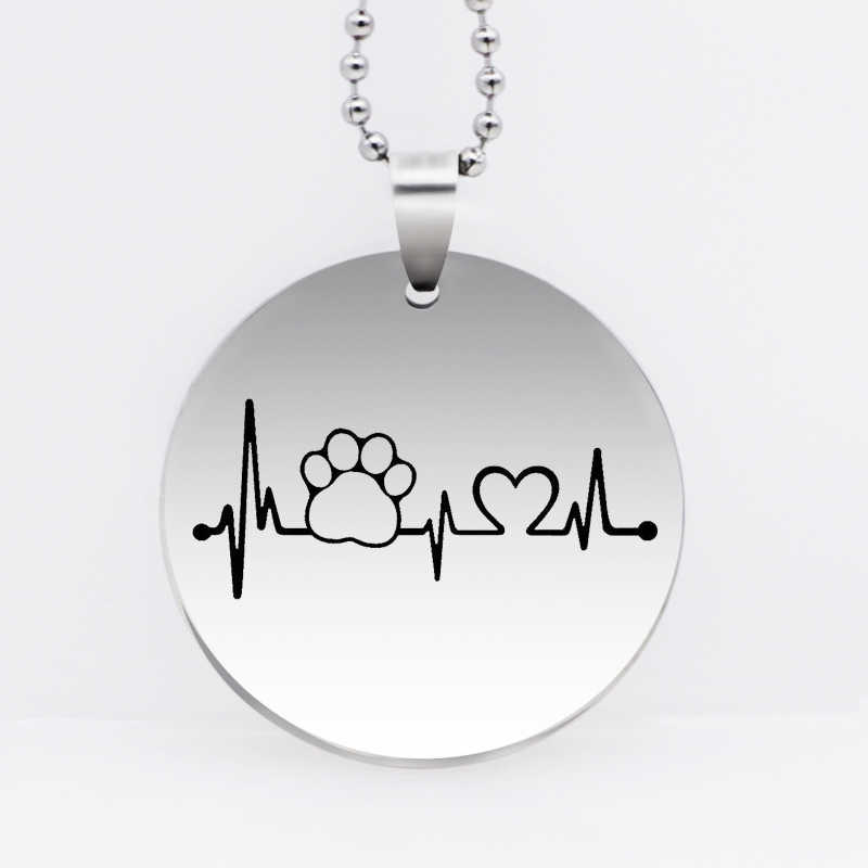 Stainless Steel Dog Paw Pendant Necklace Animal Heartbeat Paw Print Necklace Animal Jewelry Gift Drop Shipping YLQ6127
