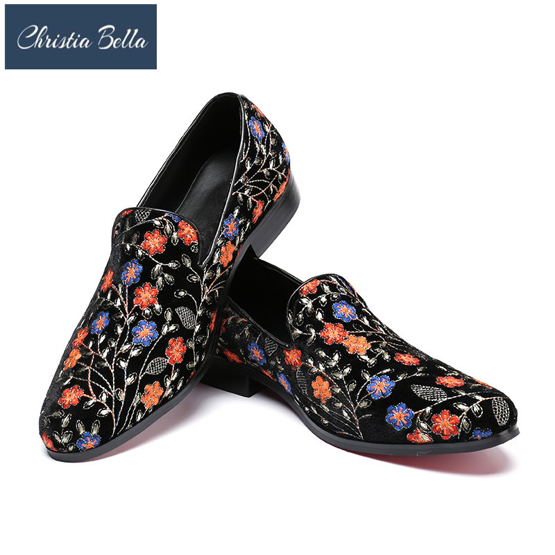 Christia Bella New Fashion Handmade Printing Gentleman Red Bottom Luxury Men Shoes Party and Wedding Loafers Men's Dress Flats цена