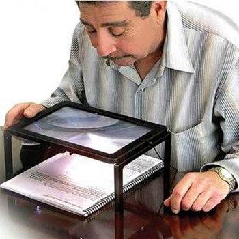노인 a4 크기 책상 유형 독서 루페 돋보기 조명 돋보기 4 led 램프 노인을위한 조명