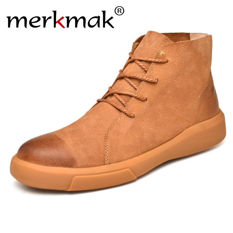 merkmak 2018 New Genuine leather Autumn Men Boots Winter Waterproof Ankle Boots Martin Boots Outdoor Boots With Fur Men Shoes