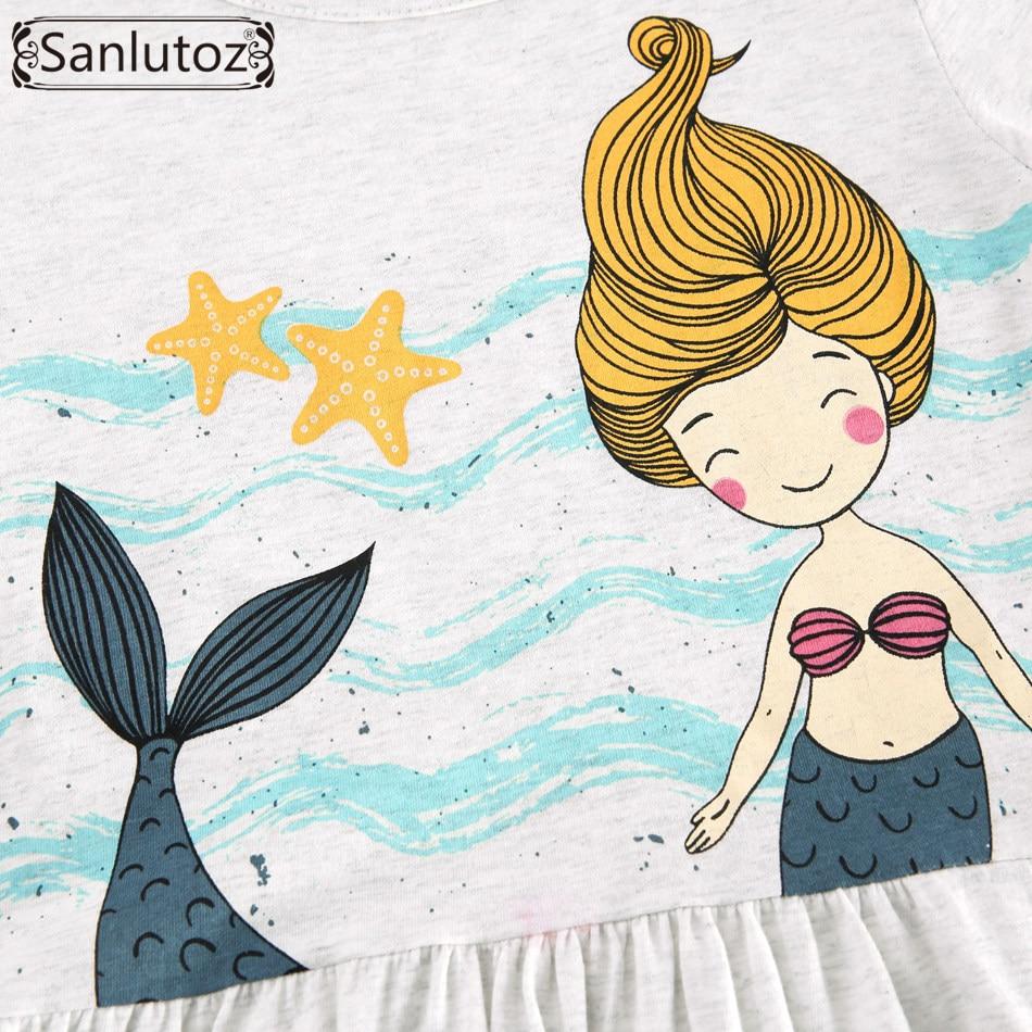 sanlutoz cotton children dress summer cute cartoon girl clothes new