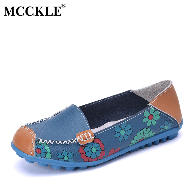 MCCKLE 2017 Spring Women Casual Shoes Female Genuine Leather Printing Loafers Shoes Woman Fashion Slip On Shallow Flats Shoes cresfimix zapatos women cute flat shoes lady spring and summer pu leather flats female casual soft comfortable slip on shoes