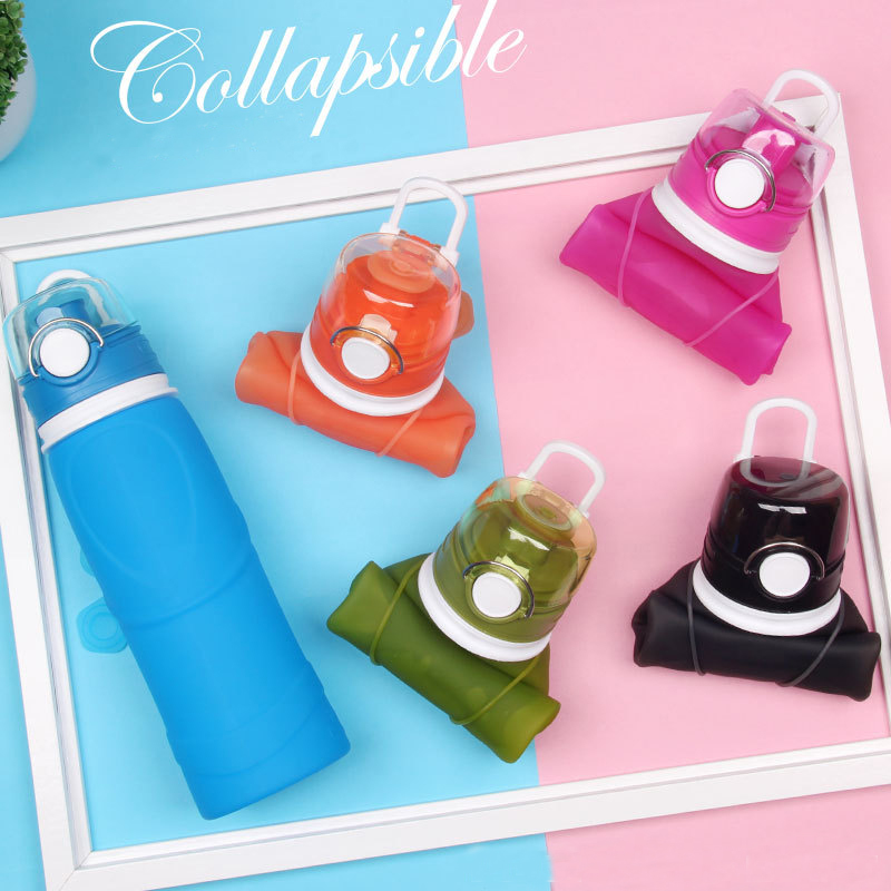 BPA Free Collapsible Reusable Silicone Water Bottles Leak Proof Flip top for Camping Travel My Plastic
