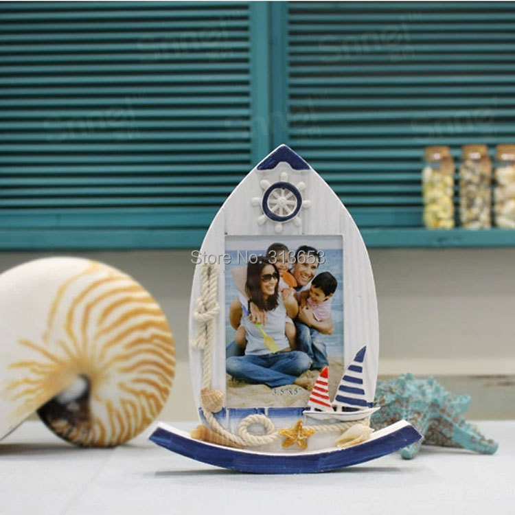 retro and nostalgic sailing boat photo frame solid wood frame beach photo frame crafts gift