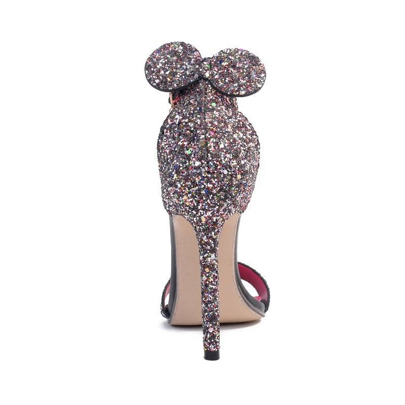 Dames Bling Hauts Stilettos Sangle Boucle Femmes Sexy Noir Mode Femme Dessinée Sandales Oreille Talons Dijigirls Chaussures De Bande YD2H9eWIE