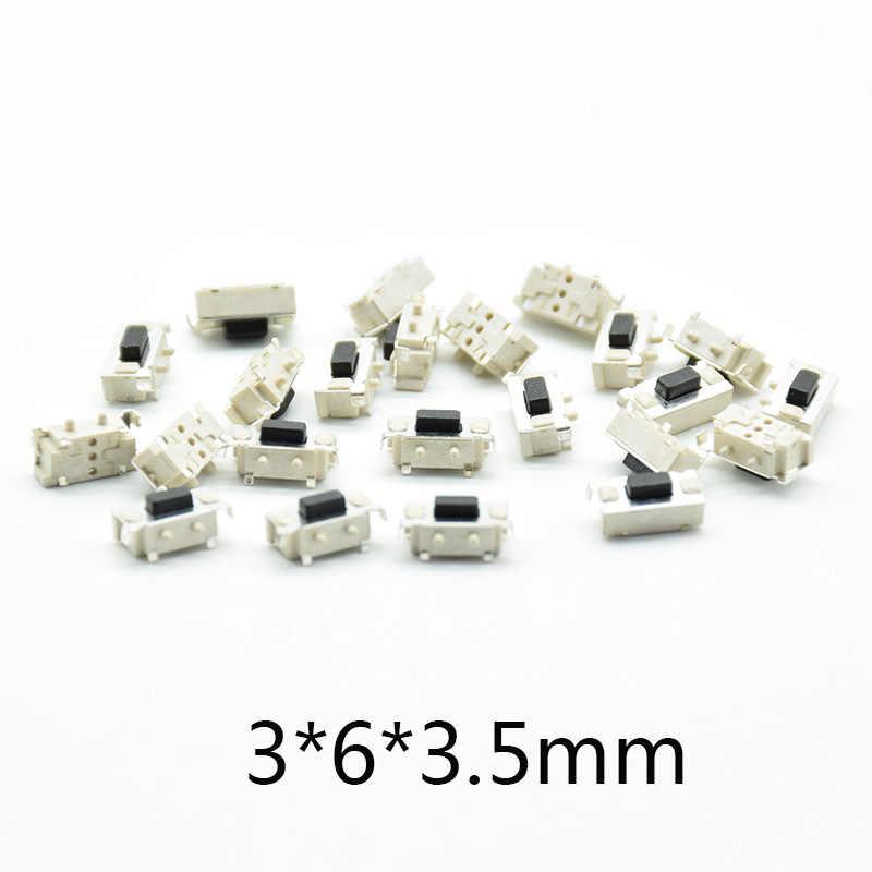 50 個白黒マイクロタクトスイッチ 3*6*3.5 3x6x3.5 Smd MP3 MP4 タブレット Pc ボタン Bluetooth ヘッドセットリモートコントロール