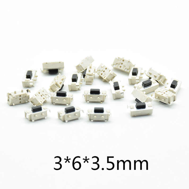 50pcs white black Micro Tact Switch Touch 3*6*3.5 3x6x3.5 SMD For MP3 MP4 Tablet PC Button Bluetooth Headset Remote Control