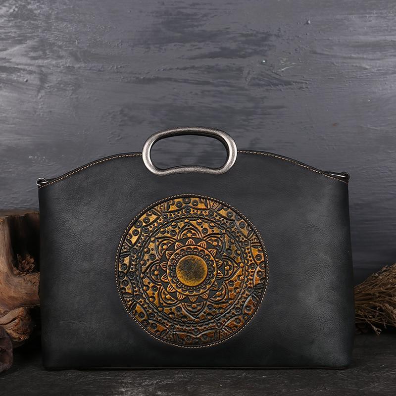 New Brand Vintage Women Genuine Leather Handbags Ladies Retro Elegant Shoulder Messenger Bag Cow Leather Handmade
