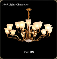 Golden Way Nordic LED Copper Brass Chandelier Lights European Luxurious Glass
