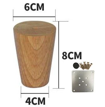 4Pieces/Lot H:8CM  Diameter:4-6.5cm   Log Colors Solid Wood Sofa Cupboard Legs Feet Furniture Parts