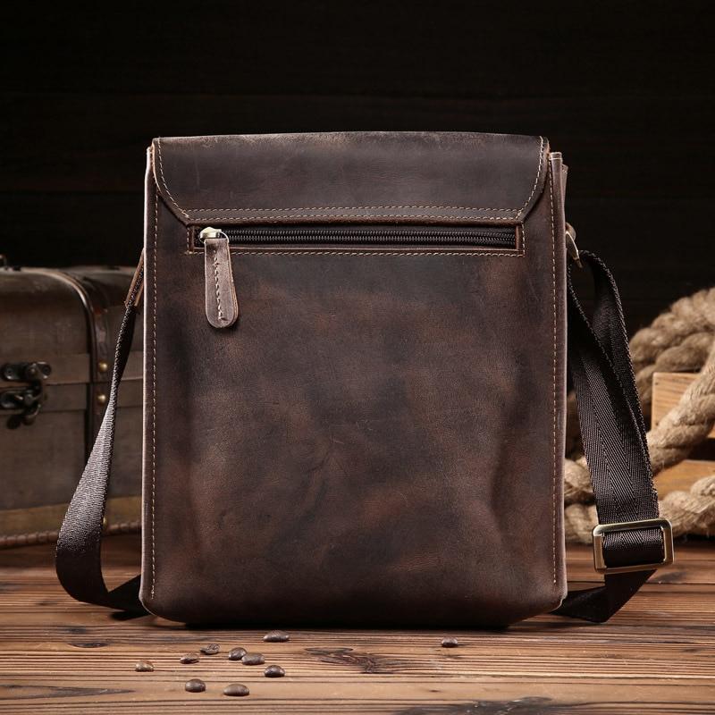 Bolsos de hombre loco caballo genuino de cuero Vintage bolsos cruzados para hombre iPad Messenger bolsa de los hombres de negocios bolso hombre - 2