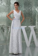 free shipping 2013 new design hot seller v-neck high quality maid dresses long white lace with sashes Bridesmaid Dresses