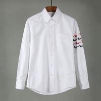 New 2018 Men Oxford embroidery Dog Bone Fashion Cotton Casual Shirts Shirt high quality Pocket long sleeves Top M 2XL #G70