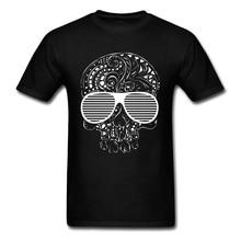 Hip Hop Rock Skull Mens Autumn Tops T Shirt Funny Design Hipster Skull With Sunglasses