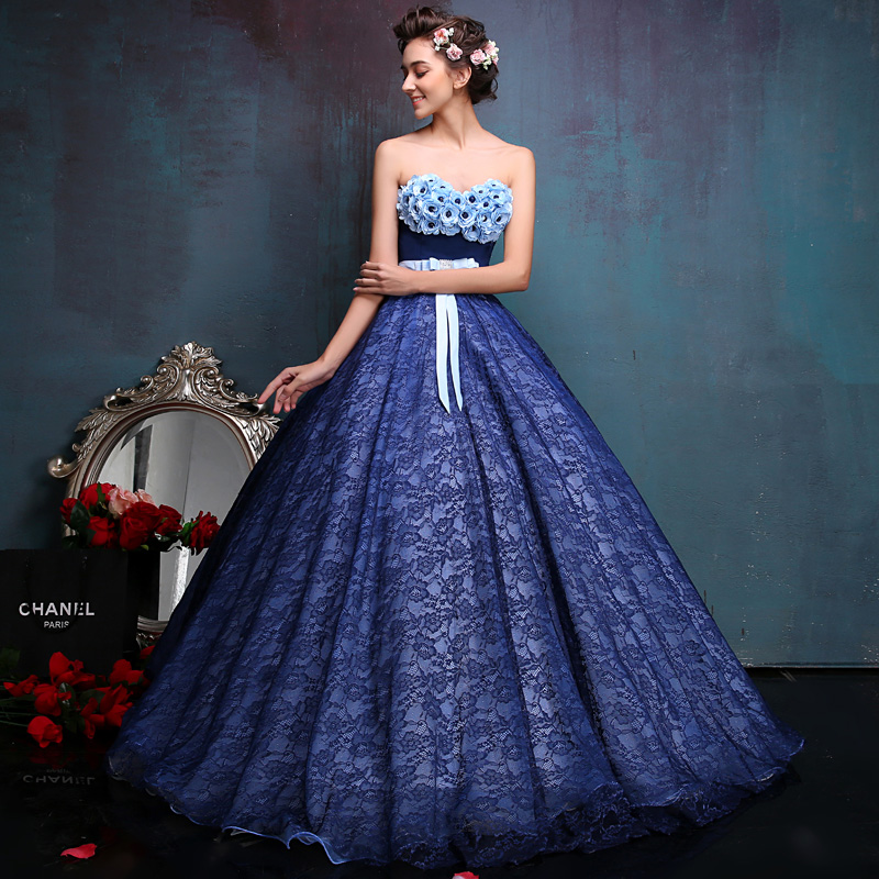 Brand New Blue Lace Appliques Starpless Singer Dresses Stage Performance Ball Gown For ladies