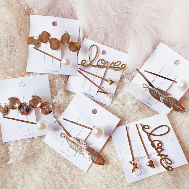 AOMU 1 комплект Корея простые металлические шпильки геометрический круглый зажим для волос в форме листка для женщин Любовь Imitiation жемчуг заколка для волос аксессуары для волос