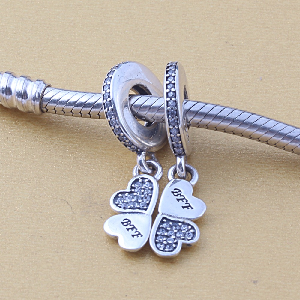ZMZY Original 925 Sterling Silver Charm Hearts Pendants with Clear Cubic Zirconia Beads For Pandora Charms Bracelets Accessories