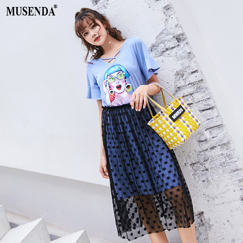 Dot Summer Skirts Ladies Plus Sweet Character Blue 2018 Two Dress Mesh Women Casual Clothing Female 5xl Musenda Piece Size Sets A0q8v