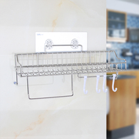 Seamless Stainless Steel Bathroom Shelf Multi Function Cooking Utensil Tools Hook Flavoring Rack Kitchen Cookware