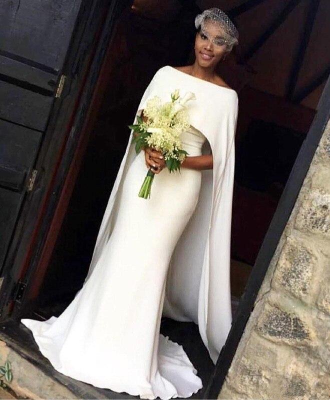 African Mermaid Wedding Dresses Black Girl With Cape Zipper Back Sweep Train Arabic Bridal Gowns