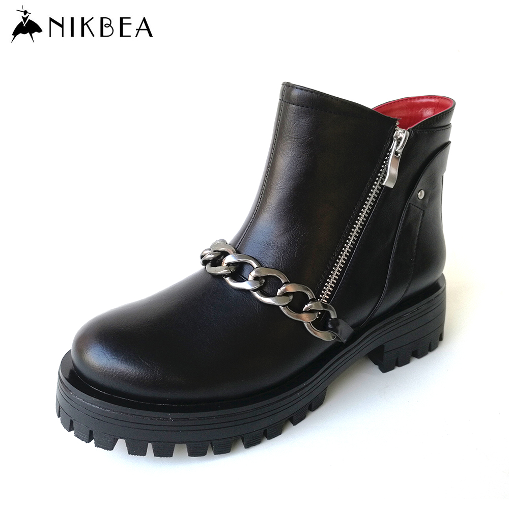 Nikbea Fashion Ankle Boots Punk Chunky Platform Boots Ladies Pu Leather Boots 2016 Autumn Shoes Winter Booties Botines Mujer ankle shoes autumn booties 2017 strange front lace up casual boots chunky round toe fetish platform white ladies chinese fashion