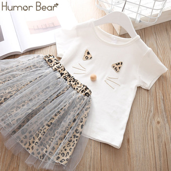Humor Bear Children Girls' Clothing Set 2019 NEW Baby Girl Clothes Dot Cat Tops +Mesh Skirt Toddler Girls Suit Baby Kids Clothes 1