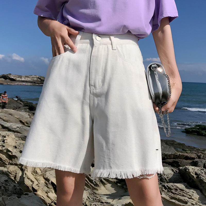 Half Length Denim Vintage White Black Solid Fashion High Waist Simple Tassel Loose Casual Female Shorts Side Split Sale Summer