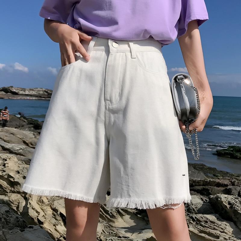 Half Length Denim Vintage White Black Solid Fashion High Waist Simple Tassel Loose Casual Female Shorts Side Split Sale Summer