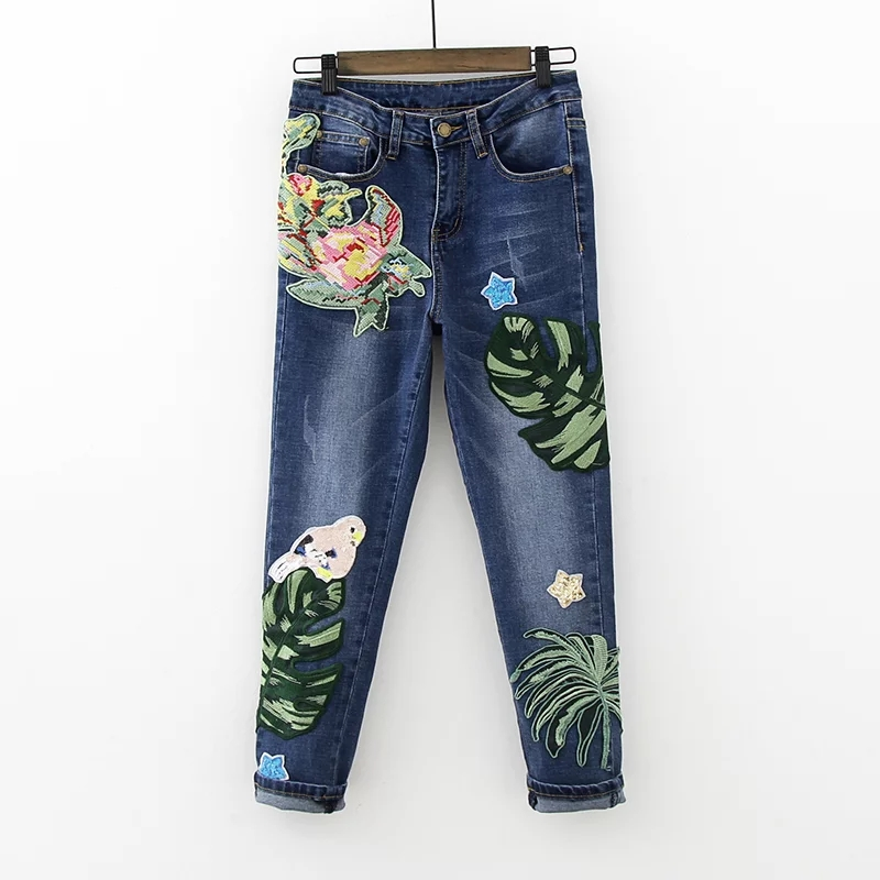 Freeshipping woman jeans 2017 The European and American wind leaves little print jeans handmade cross stitch