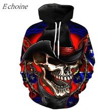 Echoine Cowboy Skull 3D Print Men Excercise Hoodies Long Sleeve Hooded Sweatshirts Running Baseball Sweaters Cheap Sports Shirts
