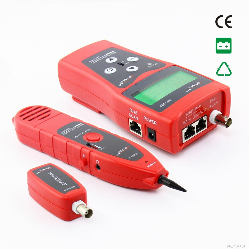 NF-308 Network monitoring cable tester LCD Wire Fault Locator LAN Network Coacial BNC USB RJ45 RJ11 red color nf samural