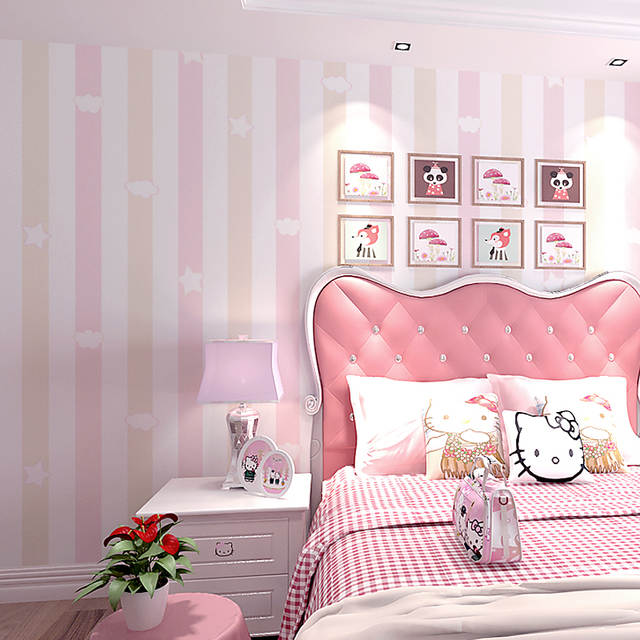 Online New Kids Room Princess Non Woven Wallpapers Blue Pink Vertical Striped Star Color Bedroom Boys Cartoon Wall Paper Aliexpress