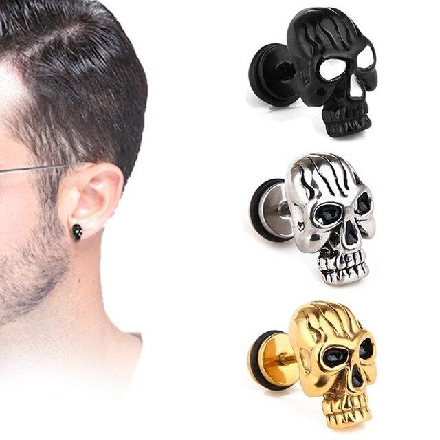 b0d35d2db Hot Sell Punk Skull Earrings For Men Boys Cool Jewelry Hip-hop Stud Earrings  Vintage Rock Skeleton Earrings For Halloween