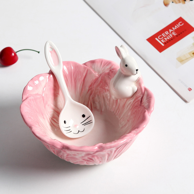 Ceramic Rabbits Bowl Cabbage style Dishes Rabbits Plate Fruit Salad Bowl Tableware Home Party Decor Dining