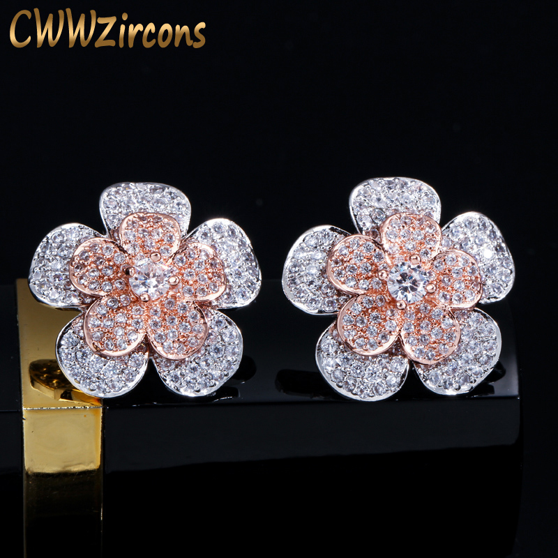 CWWZircons Full Cubic Zirconia Silver and Rose Gold Big Geometric Flower Stud Earrings for Women Fashion Brand Ear Jewelry CZ414 gold big circle geometric statement stud earrings