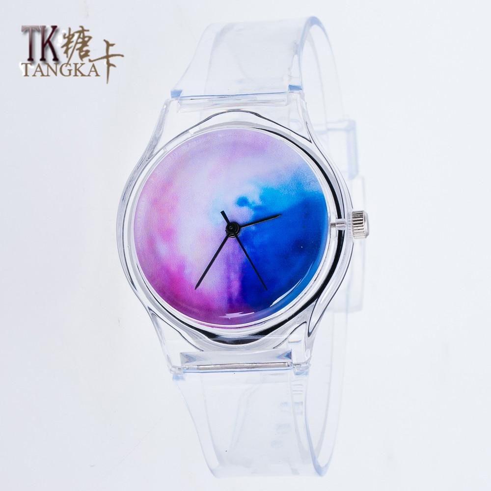 Fashion Silicone Watch Women's Watches Round Sport Casual Female Watches Ladies Quartz Transparent  Cartoon Watche  Clock