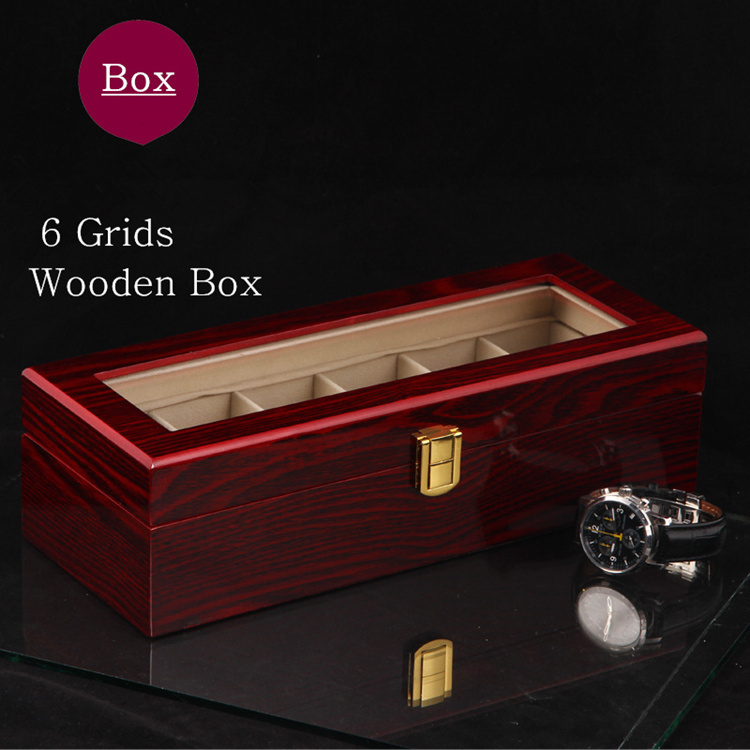 Free Shipping 6 Slots Brand Watch Display Box Red High Light MDF Watches Box Fashion Watch Storage Boxes Case W026 free shipping 10 grids brand watch display box mdf material red piano paint transparent skylight watch storage gift boxes d029