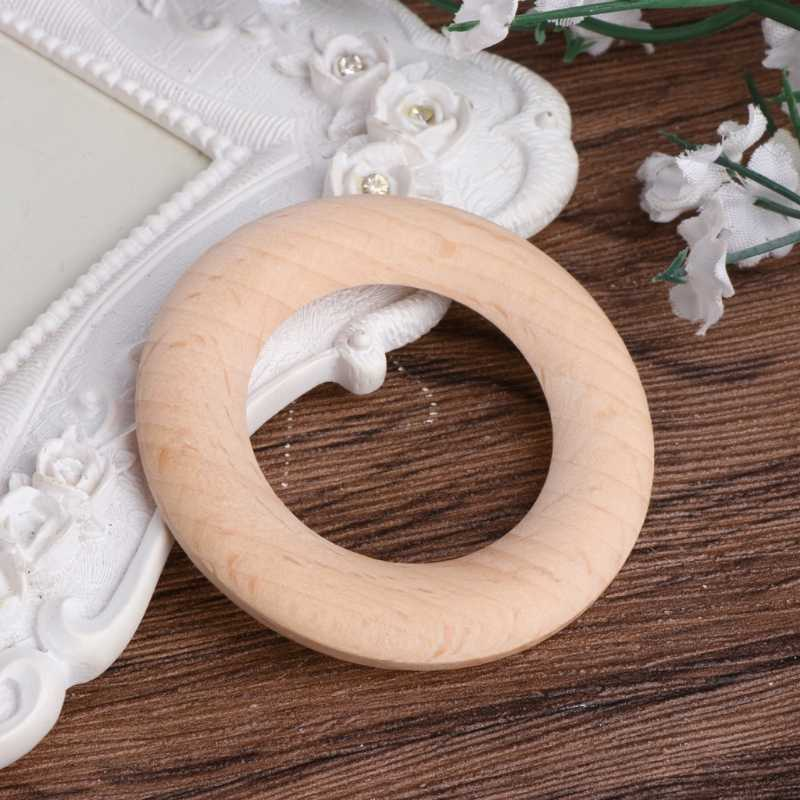55 mm Baby Wooden Teething Rings Necklace Bracelet DIY Crafts Natural Bracelets Play Gym W15