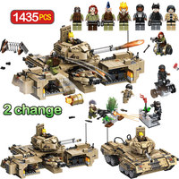 Toys For Boys Military World Gun Strike Tank Bricks LegoINGLY WW2 Big Tank Command Track Tank M1A2 Building Blocks 1435pcs