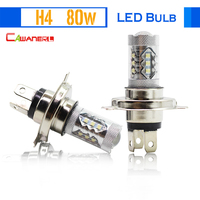 1 Pair H4 80W 1800LM LED Lamp Bulb 16 SMD White 6000K Replacement Auto Fog Lamp