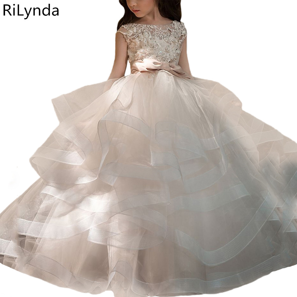 2019 Flower Girl Dress Elegant Champagne Lace Appliqué Sleeveless Cascading Kids Pageant Gowns For Weddings First Communion Dres