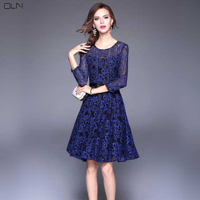 Oln Womans Sexy Fashion Navy Blue Lace Dress Woman Casual Long