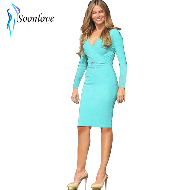 2015 New Women Winter Bandage Dress Plus Size Sexy V Neck Office