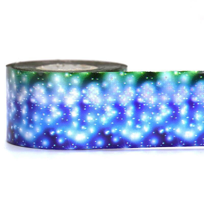 1 рулон сине-белые метеорный поток Nail Передача Foils Лазерная блеск Дизайн ногтей передачи Наклейки Маникюр Дизайн ногтей Аксессуары