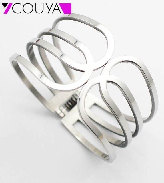 2016 Hot Selling Fashion 316L Stainless Steel Cuff Bangle Bracelets for Women Mirror Silver Shiny Women Valentine's Day Gift