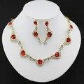 Chapado en Oro Africano de La Joyería de Aretes Collar de Cristal Austria Rojo Hermoso Mujeres Joyería de la Boda